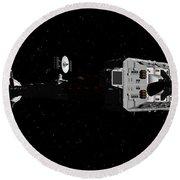 Spaceship Uss Cumberland Traveling Through Deep Space Round Beach Towel by David Robinson
