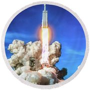 Spacex Falcon Heavy Rocket Launch Round Beach Towel