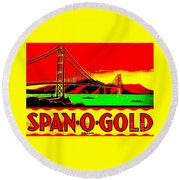 Round Beach Towel featuring the painting Span O Gold Golden Gate Bridge by Peter Gumaer Ogden
