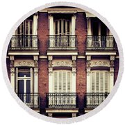 Spanish Balconies Round Beach Towel