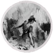 Round Beach Towel featuring the painting Spanish Dance 7734j by Gull G