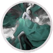Round Beach Towel featuring the painting Spanish Dance Art 56yt by Gull G