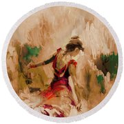 Round Beach Towel featuring the painting Spanish Dance Culture  by Gull G