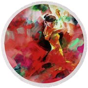Round Beach Towel featuring the painting Spanish Dance by Gull G