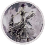 Round Beach Towel featuring the painting Spanish Dance Painting 03 by Gull G