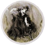 Round Beach Towel featuring the painting Spanish Dancer 3400i by Gull G