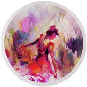 Round Beach Towel featuring the painting Spanish Female Art 0087 by Gull G