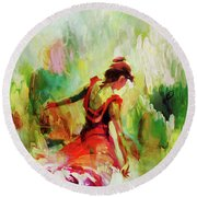 Round Beach Towel featuring the painting Spanish Female Art 56y by Gull G