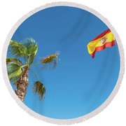Spanish Flag And Palm Tree In The Blue Sky Round Beach Towel