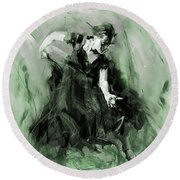 Round Beach Towel featuring the painting Spanish Flamenco Dancer by Gull G