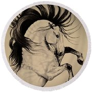 Spanish Horses Round Beach Towel by Cheryl Poland