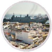 Round Beach Towel featuring the photograph Spanish Navy Ship Juan Carlos I Cadiz Spain by Pablo Avanzini