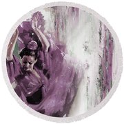 Round Beach Towel featuring the painting Spanish Woman Dance  by Gull G