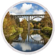 Spanning The Cuyahoga River Round Beach Towel