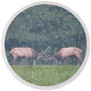 Sparking Elk On A Foggy Morning - 1957 Round Beach Towel