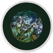 Round Beach Towel featuring the painting Sparkle In The Shade by Mary Wolf