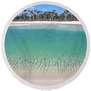 Sparkling Beach Lagoon On Deserted Beach Round Beach Towel