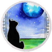 Sparkling Blue Bauble - Christmas Cat Round Beach Towel