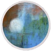 Round Beach Towel featuring the painting Sparkling Sun-rays by Michal Mitak Mahgerefteh