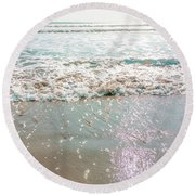 Round Beach Towel featuring the photograph Sparkly Surf by Cindy Garber Iverson