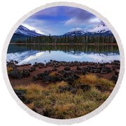 Round Beach Towel featuring the photograph Sparks Lake by Cat Connor