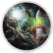 Sparks - The Storm At The Start Round Beach Towel by Sandro Ramani