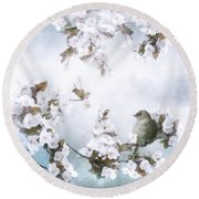 Sparrow On Cherry Branch Round Beach Towel