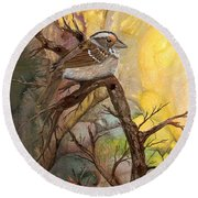 Round Beach Towel featuring the painting Sparrow by Sherry Shipley