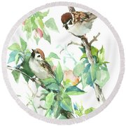 Sparrows And Apple Blossom Round Beach Towel