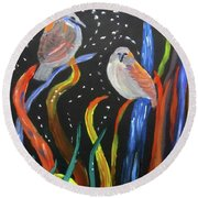 Sparrows Inspired By Chihuly Round Beach Towel