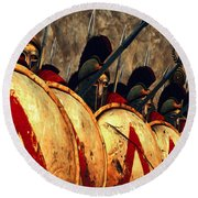 Spartan Army - Wall Of Spears Round Beach Towel