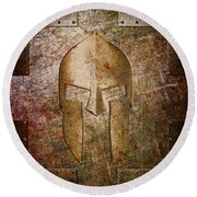 Spartan Helmet On Metal Sheet With Copper Hue Round Beach Towel
