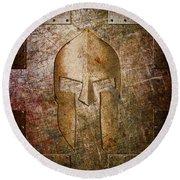 Spartan Helmet On Metal Sheet With Copper Hue Round Beach Towel