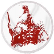 Spartan Warrior - Battleborn Round Beach Towel