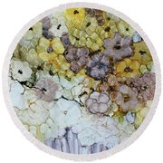Round Beach Towel featuring the painting Spash Of Sunshine by Joanne Smoley