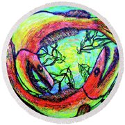 Round Beach Towel featuring the painting Spawn by Viktor Lazarev