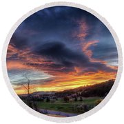 Round Beach Towel featuring the photograph Spearfish Canyon Golf Club Sunrise by Fiskr Larsen