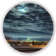 Round Beach Towel featuring the photograph Spearfish Under The Moon by Fiskr Larsen