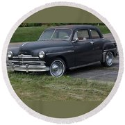 1948 Special Deluxe Plymouth Round Beach Towel