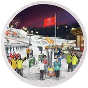 Special Olympics Winter Games Round Beach Towel