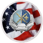 Special Operations Weather Team -  S O W T  Badge Over American Flag Round Beach Towel by Serge Averbukh