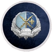 Special Operations Weather Team -  S O W T  Badge Over Blue Velvet Round Beach Towel by Serge Averbukh