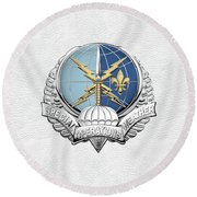 Special Operations Weather Team -  S O W T  Badge Over White Leather Round Beach Towel by Serge Averbukh