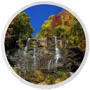 Spectacular Fall Color At Amicalola Falls Round Beach Towel by Barbara Bowen