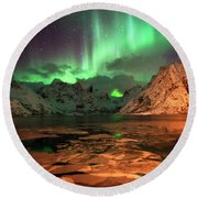 Spectacular Night In Lofoten 1 Round Beach Towel