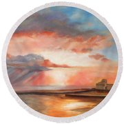 Spectacular On Folkestone Harbour Round Beach Towel by Beatrice Cloake