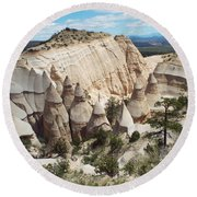 Spectacular Slot Canyon Trail View-at-the-top Round Beach Towel by Cindy Croal