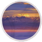 Spectacular Surnise Of The La Sal Mountains From Dead Horse Point State Park Round Beach Towel