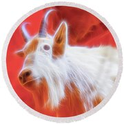 Spectral Mountain Goat Round Beach Towel