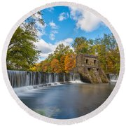 Speedwell Dam Fall Foliage Round Beach Towel